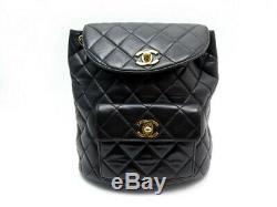 Vintage Sac A Dos Chanel Gabrielle Timeless Cuir Matelasse Noir Backpack 3200