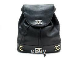 Vintage Sac A Dos Chanel Logo CC En Cuir Caviar Noir Black Backpack Bag 3200
