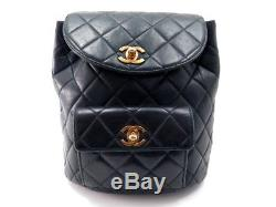Vintage Sac A Dos Chanel Timeless En Cuir Matelasse Noir Leather Backpack 3200