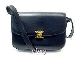 Vintage Sac A Main Celine Classic Bandouliere En Cuir Bleu Marine Hand Bag 3100