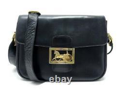 Vintage Sac A Main Celine Classic Logo Caleche Bandouliere En Cuir Box Bleu Bag