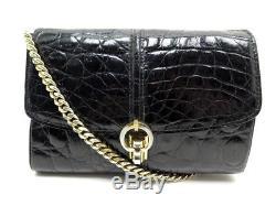 Vintage Sac A Main Celine Pochette En Cuir De Crocodile Noir Clutch Purse Bag
