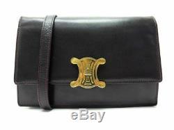 Vintage Sac A Main Celine Triomphe Bandouliere Cuir Violet Leather Handbag 1900