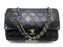 Vintage Sac A Main Chanel Classique Timeless Cuir Matelasse Noir Hand Bag 5150