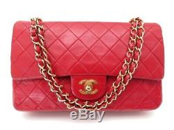 Vintage Sac A Main Chanel Classique Timeless Cuir Matelasse Rouge Hand Bag 5150