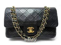 Vintage Sac A Main Chanel Petit Timeless Classique Cuir Matelasse Noir Bag 4550