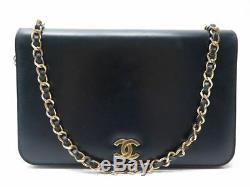 Vintage Sac A Main Chanel Pochette 24 CM Timeless En Cuir Bleu Hand Bag 2800