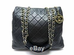 Vintage Sac A Main Chanel Shopping Pm Cuir Matelasse Noir Leather Hand Bag 3600