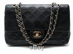 Vintage Sac A Main Chanel Timeless 2.55 Cuir Matelasse Noir Hand Bag Black 4800