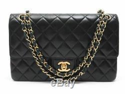 Vintage Sac A Main Chanel Timeless Classique En Cuir Matelasse Noir & Dore 4800