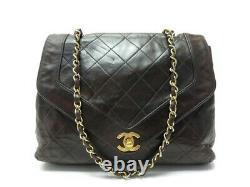 Vintage Sac A Main Chanel Timeless Cuir Matelasse Marron Bandouliere Bag 3700