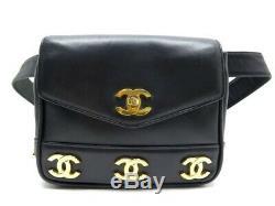 Vintage Sac A Main Chanel Timeless Logo CC Ceinture Banane En Cuir Noir Belt Bag