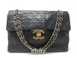 Vintage Sac A Main Chanel Timeless Maxi Jumbo Cuir Matelasse Noir Hand Bag 7100