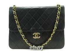 Vintage Sac A Main Chanel Timeless Square En Cuir Matelasse Noir Hand Bag 5500