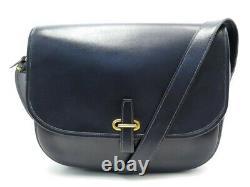Vintage Sac A Main Hermes Balle De Golf Bandouliere Cuir Box Bleu Hand Bag 6850