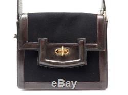 Vintage Sac A Main Hermes Circa 1940 En Cuir Box Marron & Feutre Noir Hand Bag