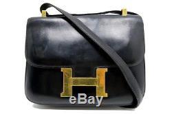 Vintage Sac A Main Hermes Constance 24 En Cuir Box Noir 1973 Handbag Purse 7350