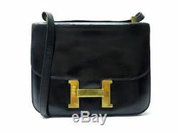 Vintage Sac A Main Hermes Constance Bandouliere Cuir Box Noir Leather Bag 6850