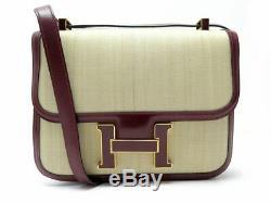 Vintage Sac A Main Hermes Constance Pm Crinoline Cuir Box Boucle Laque Bag 6850