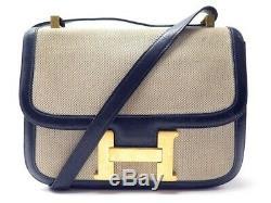 Vintage Sac A Main Hermes Constance Toile & Cuir Box Bleu Marine Hand Bag 6850
