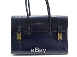 Vintage Sac A Main Hermes Drag En Cuir Box Bleu Blue Leather Hand Bag Purse
