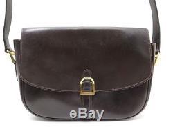 Vintage Sac A Main Hermes Etrier En Cuir Box Marron Stirrup Hand Bag Circa 1965