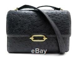 Vintage Sac A Main Hermes Fonsbelle Bandouliere En Cuir D'autruche Noir Hand Bag