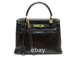 Vintage Sac A Main Hermes Kelly 28 Bandouliere En Cuir Box Marron Hand Bag 7300