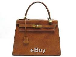 Vintage Sac A Main Hermes Kelly 29 En Cuir De Pecari Gold Marron Hand Bag 7400