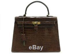 Vintage Sac A Main Hermes Kelly 32 1971 En Cuir Crocodile Marron Hand Bag 20000