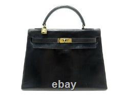 Vintage Sac A Main Hermes Kelly 32 Sellier 1970 En Cuir Box Noir Hand Bag 7500