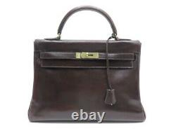 Vintage Sac A Main Hermes Kelly 33 En Cuir Marron Brown Leather Hand Bag 7700