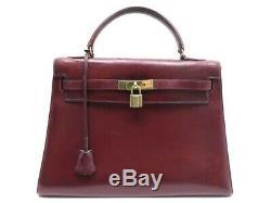 Vintage Sac A Main Hermes Kelly 33 Sellier En Cuir Box Bordeaux Bag Purse 7700