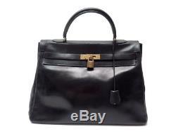 Vintage Sac A Main Hermes Kelly 35 Cuir Box Noir Souple Black Leather Hand Bag