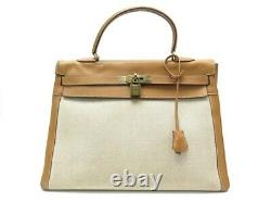 Vintage Sac A Main Hermes Kelly 36 Toile H Et Cuir Gold Dore Leather Hand Bag