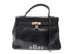 Vintage Sac A Main Hermes Kelly Retourne 32 En Cuir Box Noir Hand Bag 7500