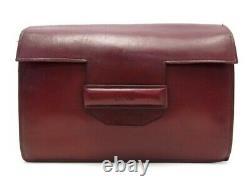 Vintage Sac A Main Hermes Pochette En Cuir Rouge Red Leather Pouch Hand Bag