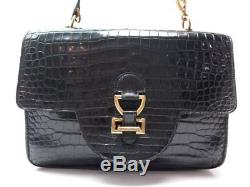 Vintage Sac A Main Hermes Porte Epaule En Cuir De Crocodile Noir Leather Handbag