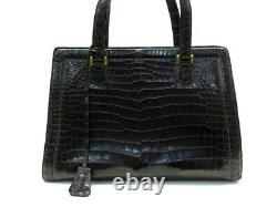 Vintage Sac A Main Hermes Pullman En Cuir De Crocodile Marron Leather Hand Bag