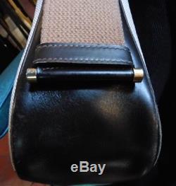 Vintage Sac A Main Hermès Tsako Boucle H 1979 En Toile & Cuir Marron Hand Bag