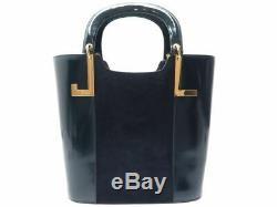 Vintage Sac A Main Lanvin En Cuir Et Daim Bleu Marine Blue Navy Leather Handbag