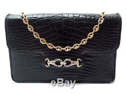 Vintage Sac Celine En Cuir De Crocodile Noir Black Leather Purse Hand Bag