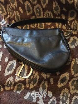 Vintage Sac Sadlle Christian Dior Cuir Noir