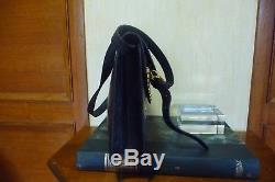 Vintage Sac YVES SAINT LAURENT Cuir Marine et Clous Or en forme de Y