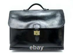 Vintage Sacoche Hermes Sac A Depeches 3 Soufflets Cuir Box Noir Briefcase 5800
