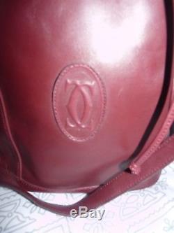 Vintage Superbe Sac Seau Bandouliere Cuir Bordeaux Must De Cartier