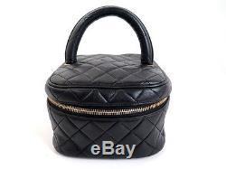 Vintage Trousse De Toilette Chanel Vanity Case A Main Sac Cuir Noir Cosmetic Bag