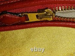 Vintage Véritable Grand Sac A Main Hermes En Cuir Bordeaux Rouge