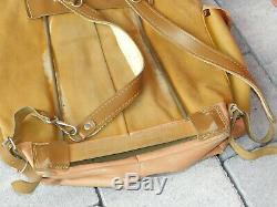 Vintage ancien SAC à DOS MILITAIRE SUISSE CUIR leather bag BACKPACK tasche LEDER