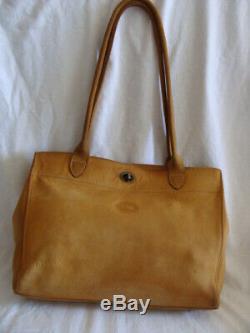 Vintage sac Longchamp cuir daim bag Longchamp camel porté épaule